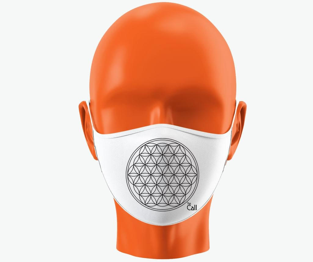 Mask with Flower of Life design