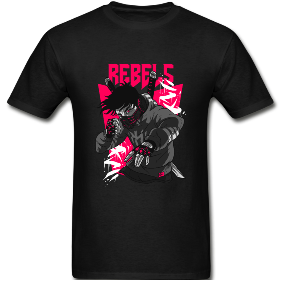 Rebels Ninja Mens Tee – pink accent