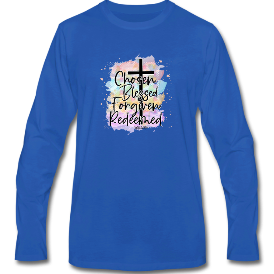 Chosen Blessed Forgiven Redeemed Cross Long Sleeve Tee